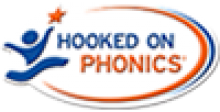 """A blue illustration of a child jumping with an orange star above their left hand. Next to it, the words """"Hooked on Phonics"""" in blue and orange font. There is also a blue and orange oval surrounding the logo."""