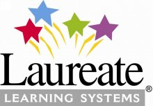 "The Laureate Learning Systems Logo: four shooting stars (one red; one blue; one lime green; and one purple) are shown above the word ""Laureate,: which is printed in black font. Beneath, the words ""Learning Systems"" in white font against a medium-grey background."