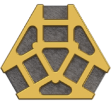"""Brown, irregular hexagon-shaped graphic with a """"web"""" of golden-colored lines over it."""