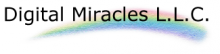 """A rainbow graphic with the words """"Digital Miracles LLC"""" in black font over it."""