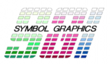 """The words """"Symbol Graphics"""" in black, italic font. Behind them are the stylized 3d letters """"SGI"""" in green, pink, and blue font."""