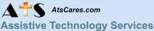 """The letters """"A,"""" """"T,"""" and """"S,"""" with the """"T"""" represented with a cross graphic. Next to the letters is the URL """"AtsCares.com."""" Beneath are the words """"Assistive Technology Services"""" in blue font. The background is periwinkle."""