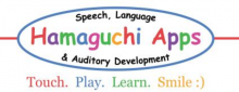 """A blue oval with the words """"Hamaguchi Apps: Speech Language & Auditory Development' inside. The words """"Hamaguchi Apps"""" are in rainbow colored-font. Underneath the oval logo, the words """"Touch. Play. Learn. Smile :)"""" are printed in red, blue, green, and yellow font."""