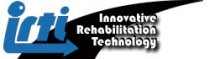 """A black streak with the letters """"IRTI"""" in bold, blue font, and the """"I"""" ending in an arrow pointing to the right. Next to it are the words """"innovative rehabilitation technology"""" in white font."""