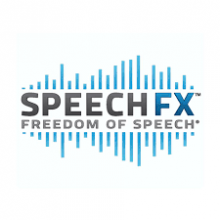 """A blue sound wave graphic with the words """"Speech FX, Freedom of Speech"""" printed over it in black and blue font."""