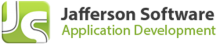 """A lime green icon with a white """"J"""" and """"S."""" To the right, the words """"Jafferson Software"""" in bold, black font. Beneath that are the words """"Application Development"""" in lime green font."""