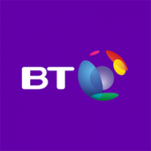 "The letters ""BT"" in white font next to a multi-colored globe graphic. The background is purple."