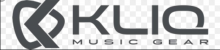 "A black geometric symbol next to the words ""KLIQ: Music Gear"" in bold, black font."