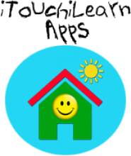 A children's illustration of a green house with a smiley face on the front and a sun shining above.
