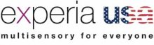 """The logo with the word """"experia"""" written in black lower case followed by a red/white/and blue """"usa"""" also in lower case. Under this are the words """"multisensory for everyone"""" written in black lower case."""