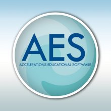 "A light blue circle with a white border, featuring the letters ""AES"" in dark blue in the center. The background is a blue and white gradation."
