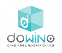 "A light blue, semi-transparent cube graphic with a white ""d"" on one side of it. Beneath are the words ""dowino, games, apps, & films for change."" The ""win"" in ""dowino"" is blue, while the rest of the font is black."