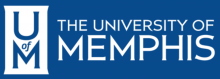 """A blue background with the words """"The University of Memphis"""" in white font. To the left, there is a white banner with the words """"U of M."""""""