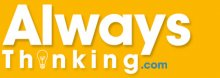 "A bright orange background with the words ""Always Thinking.com"" in bold, white font."