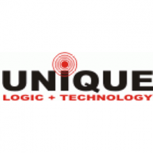 "The word ""Unique"" in bold, black font with a radiowave graphic above the letter ""i."" The words ""Logic + Technology"" are in red font below."