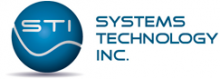 """A blue sphere with the letters """"STI"""" and a curvy line beneath. To the right, the words """"Systems Technology Inc."""" in blue font against a white background."""