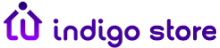 """A purple house graphic with the letter """"i"""" serving as the front door. To the right, the words """"indigo store"""" in purple."""