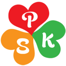"A three-leaf clover with orange, red, and green leaves, and the letters ""P,"" ""S,"" and ""K"" on each leaf."