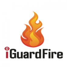 """A flame graphic with the wods """"iGuardFire"""" in red and black font beneath against a white background."""