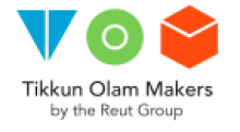 """TOM logo showing a blue triangle with the apex pointing down and a thin white line dividing it in half, followed by a light green circle with a smaller circle drawn inside it with a thin white line, and followed by an orange/red cube with the top drawn with a thin white line. Below these are the names Tikkun Olam Makers written with light black letters and below this is """"by the Reut Group"""" written in grey letters."""