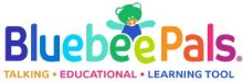 """Logo with colorful letters """"BluebeePals"""" and a green bear with arms outstretched seen from behind the double """"e"""". Under this is written """" Talking Educational Learning Tool"""", with each word written in a different color."""