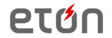 """The logo is shown with """"eton"""" written in black lower case letters with a red lightning bolt piercing the letter """"o"""" from the top."""