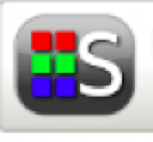 """Synapptic logo is shown with two columns of identical colorful squares: red, green, then blue. Next to these is a large """"S"""" written in white. The background is a medium grey rectangle with rounded corners."""