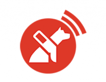 The logo of LazarilloApp is shown as a red circle with a white silhouette of a dog sitting and wearing a harness. From around the area of the circle where the dog's mouth is are two sound wave bars emanating.