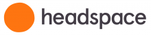 """Logo consisting of an orange circle is shown with the name written next to it in black lower-case letters, """"headspace""""."""
