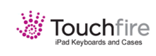 """The company Logo that is shown has the outline of a purple hand formed with dots, followed by the name """"Touchfire"""" on the first line and """"iPad Keyboards and Cases"""" underneath that."""