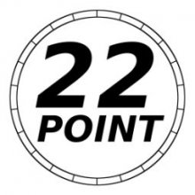 "The Company logo which features a large black ""22"" and the word ""Point"" under it, both within a double circle."