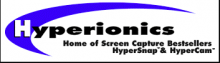 """Hyperionics logo has a white block letter """"H"""" in a royal blue crescent shape with the rest of the letters in Hyperionics written in black on a white background. Written under the name is """"Home of screen capture BestSellers: HyperSnap and HyperCam."""