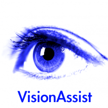 """An illustration of a purple eye captioned """"VisionAssist."""""""