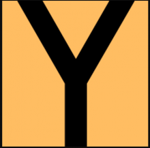 "Shown is the Logo for Yoctoville: an orange square with a large black letter ""y"" that stretches the full height of the square."