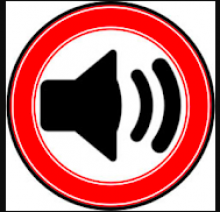 The Audex Logo is a bright red circle drawn around a simple black silhouette of a speaker with two curved sound waves in front of it.