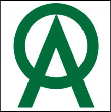 """The company Logo is written in green as a large letter """"o"""" integrated with an equally large letter """"a"""" by having the """"o"""" above the """"a"""" but forming the line that connects the A's legs with its lower arc."""
