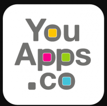 "There are three lines of text shown on a white background square with rounded corners: ""You"", ""Apps"", and "".co"". The circles formed in the letters ""o, p,p, and o"" are colored yellow, pink, green, and blue, respectively. The letters are written in grey."