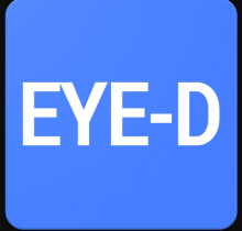 "The company name is written on a light blue rectangle with rounded corners in white capital letters ""E"",""Y"",""E"",""-"",""D""."