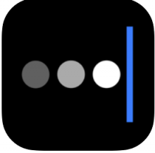 A black square with rounded corners is shown with 3 large white dots followed by a vertical light blue line.