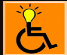 The company Logo has an orange square background with the universal symbol of a wheelchair user drawn in black. In place of the user's head is a classic yellow lightbulb with black lines radiating from it in all directions.