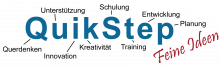 "QuikStep logo featuring company name with various words in German with a word to represent each letter of the company name, such as 'i' for ""innovation"" and 't' ""training."""
