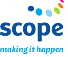 "The organization's name ""scope"" is written with a thick lower case simple text blue font. Above it are dots of different colors drawn in 3D as to make them look like they are part of half a circle of dots. Below the name is written in blue lower case: Making it happen."