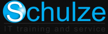 "The company name ""Schulze"" is written with a blue print. The capital ""S"" is in white on a blue sphere. Below the name is written in small letters: IT training and service."