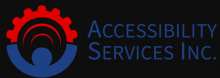 The company name is written in simple blue capital text font as Accessibility on the first line and Services Inc under that.  The icon is of a simple blue silhouette of a person with uplifted arms touching a red gear-like half-circle that ends at each palm.