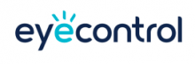 The company name, eye control, is written in black lower case print, without a space between the words. The second e in eye is written in blue with three lines radiating up from its curved head.