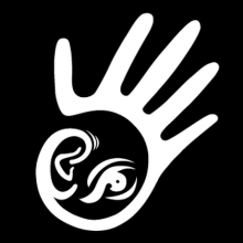 Logo featuring an outline of a hand with an ear and and eye in its palm.