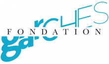 """Logo featuring the word 'fondation"""" transposed over the word """"garches"""" positioned diagonally."""
