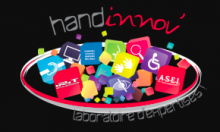 """An icon is shown of a pile of colorful icons inside a 3d ring; icons like a wheelchair user, a computer monitor, no vision, and ear, etc. Above the ring is written """" Handinnov'"""", hand in white and innov' in red. Below the ring """"Expertise Laboratory"""" is written in French."""