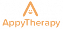 Logo featuring the letter 'A' with a smiley face in the middle and the company name below in orange.