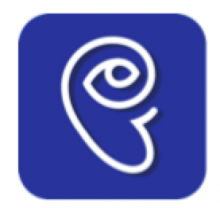 An icon is shown with a purple-blue background and an ear drawn in thick white. The spiral of the ear turns into an eye.